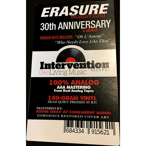 Erasure Wonderland Lp 180 Gram Vinyl Kevin Gray 30th