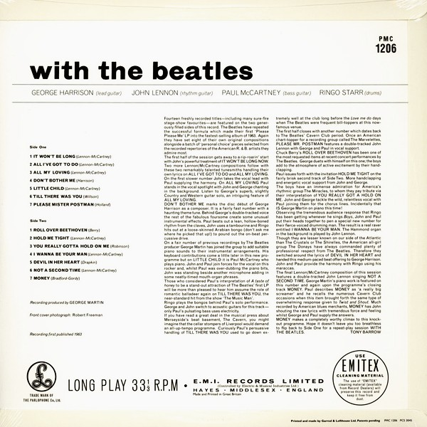 The Beatles With The Beatles MONO LP 180 Gram Vinyl All Analog