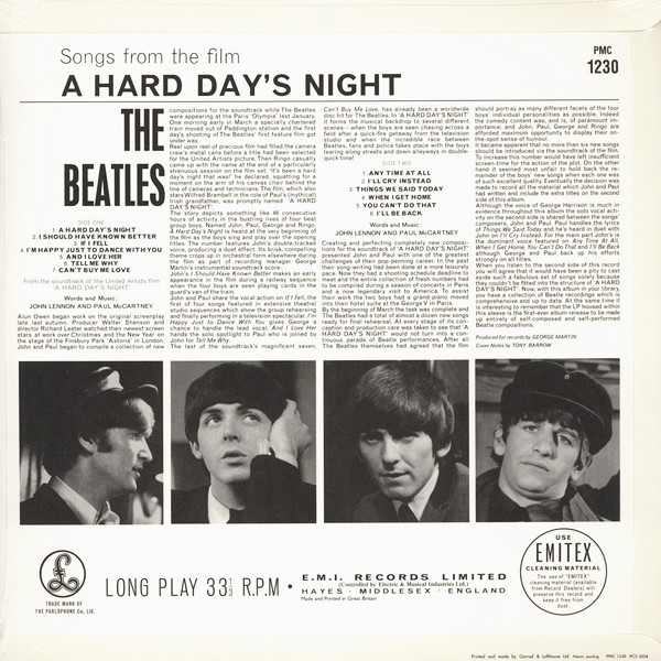 The Beatles A Hard Day's Night MONO LP 180 Gram Vinyl All Analog