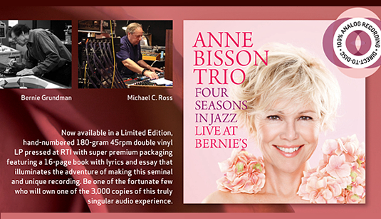 Anne Bisson Trio Four Seasons in Jazz Live at Bernie's 2LP 45rpm Vinil 180g D2D Edição Limitada 2017 USA