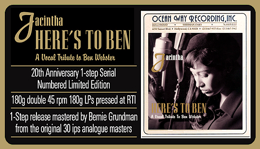 Jacintha Here's To Ben A Vocal Tribute To Ben Webster 2LP 45rpm 180g Vinyl 1-Step Groove Note 2018 USA